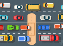 Illustration: a bandaid stretches across a cartoon stretch of road with cars traveling across it. (James Bareham for The Verge)