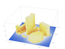 A modeling image depicts surface temperatures around Penn Plaza in New York City.